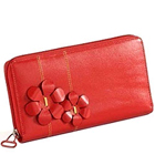 Flowery styled Genuine Leather ladies Wallet in Red from Leather Talks to Varanasi