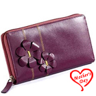 Flowery styled Genuine Leather ladies Wallet in Purple from Leather Talks to Guwahati