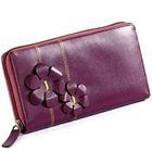 Flowery styled Genuine Leather ladies Wallet in Purple from Leather Talks to Mysore