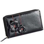 Flowery styled Genuine Leather ladies Wallet in Black from Leather Talks to Mysore