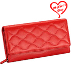 Red Wave shaped Genuine Leather Ladies Wallet from Leather Talks to Agra