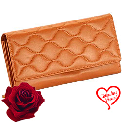 Brown Wave shaped Genuine Leather Ladies Wallet fr... to Bhubaneswar