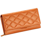 Brown Wave shaped Genuine Leather Ladies Wallet from Leather Talks to Aquem