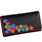 Blossom Themed Genuine Leather Wallet in Black with Colorful Leather Flowers from Leather Talks to Mysore