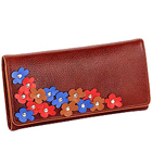 Blossom Themed Genuine Leather Wallet in Brown with Colorful Leather Flowers from Leather Talks to Aluva