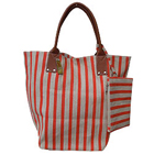 Ladies Leather Hand Bag with Grey and Orange Stripes and Brown Color Handle from Spice Art to Mysore