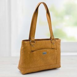 Chic Tan Color Leather Vanity Bag for Women to Adugodi