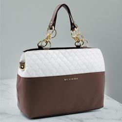 Showy Leather Handbag for Her in White N Brown to Aluva