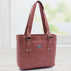 Eye-Catching Coral Color Leather Handbag for Her to Agartala