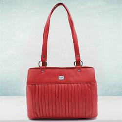 Exclusive Red Color Leather Vanity Bag for Ladies to Agartala
