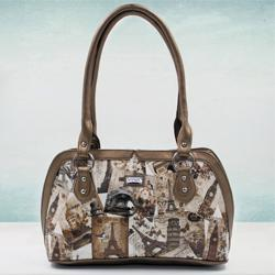 Marvelous Beige Color Leather Vanity Bag for Ladies to Agartala