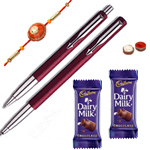 Pen set from Parker with Rakhi with Chocolate and Roli Tilak Chawal to Cochin