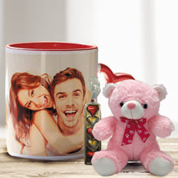Marvelous Personalized Photo Mug with Heart Chocolate N Red Teddy to Aizwal