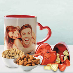 Beautiful Personalized Photo Mug n Heart Chocolates with Dry Fruits to Akola