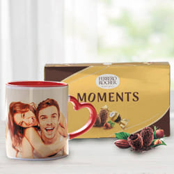 Remarkable Personalized Photo Mug with Heart Handle n Ferrero Rocher to Akola