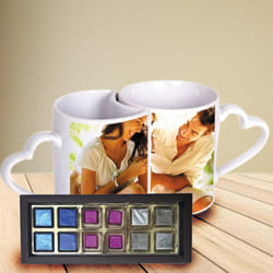 Wonderful Personalized Heart Handle Couple Mug with Handmade Fruity Chocolates to Abohar