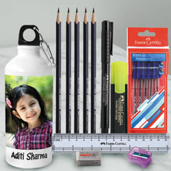Amusing Personalized Photo Sipper with Faber Castell School Kit to Aizwal