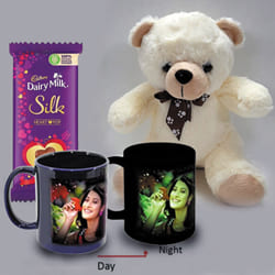 Lovely Personalized Photo Radium Mug with Teddy n Heart Chocolates to Abohar