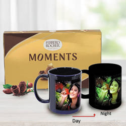 Marvelous Personalized Photo Radium Mug with Ferrero Rocher to Akola