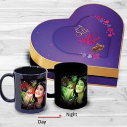 Impressive Personalized Photo Radium Mug n Heart Chocolate Box to Akola