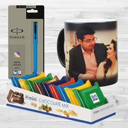 Wonderful Personalized Photo Magic Mug N Parker Pen with Mini Chocolates to Adoni
