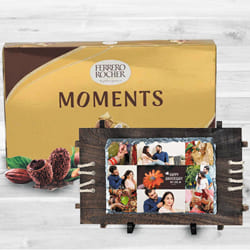 Wonderful Personalized Photo Rock in Wood Stone n Ferrero Rocher to Abohar