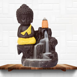 Exclusive Buddha Incense Smoke Burner Polyresin Fountain to Adoor