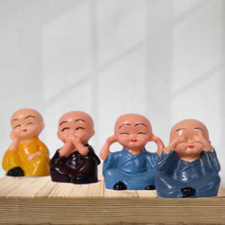 Elegant Set of 4 Laughing Buddha Polyresin Statue to Agra