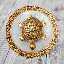 Pious Feng Shui Metal Tortoise On Plate to Abohar