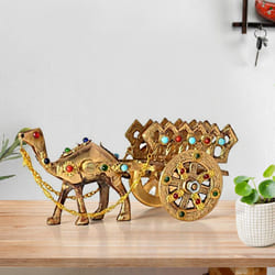 Mesmerizing Rajasthani Gemstone Studded Brass Camel with Antique Work to Akola