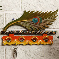 Mesmerizing Peacock Feather Styled Wooden Key Holder to Alwar