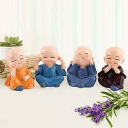 Attractive Set of 4 Buddha Monks Figurines to Aizwal