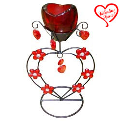 Stunning Red Wrought Iron Candle Stand Gift to Chirala