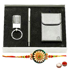 Unique Visiting Card Holder , Key Ring and Pen Set with free Rakhi , Roli Tilak and Chawal  to India
