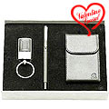 Trendy Gift Set with Steel Finish Key Ring, Pen & Visiting Card Holder to India
