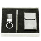 Decent Steel finish Key Ring, Pen and Visiting Card Holder  gift set to Banswara