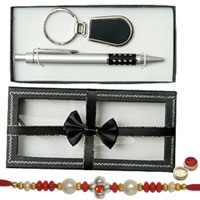 An Elegant Pen and Key Ring set with free Rakhi ,  Roli Tilak and Chawal  to India