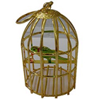 Golden Plated Stylish Bird Cage with Colorful Parrot to Adra