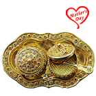 Exquisite Colorful Stone engraved 2pcs Golden Supari Dabbi and Tray Set to Baraut