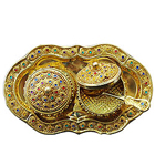 Exquisite Colorful Stone engraved 2pcs Golden Supari Dabbi and Tray Set to Bangalore