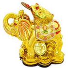 Feng shui Golden Elephant with frog on his head to Dindigul