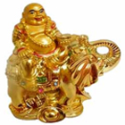 Laughing budha sitting on elephant to Baghpat