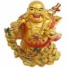 Laughing budha Standing with holding Ru Yi & ingot in left hand along with golden coins to Bade Bacheli