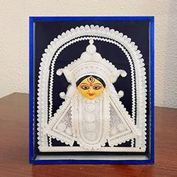 Attractive Teracotta and Thermacol Special Maa Durga in a Glass Frame to Baraut