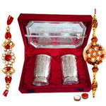 Silver plated set of  design crafted two glasses and a tray with Rakhi and Roli Tilak Chawal to Varanasi