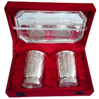 Silver plated set of  design crafted two glasses and a tray to Yamunanagar