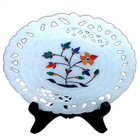 Beautifully carved marbel designer plates with stand to gift your loved ones to Barrackpore
