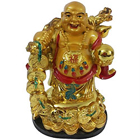 Awe-Inspiring Standing Golden Laughing Buddha with Hint of Good Luck to Behrampur
