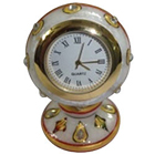 Spectacular Round Shaped Marble Table Clock with Ethnic Meenakari Work to Amravati