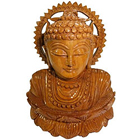 Remarkable Finely Carved Handmade Wooden Buddha Statue to Ghaziabad